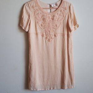 (Anthropologie)Under Skies peach embroidered dress